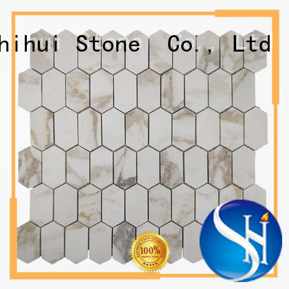 grey stone mosaic backsplash customized for bathroom