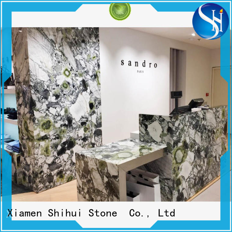 santo stone slab countertop personalized for kitchen