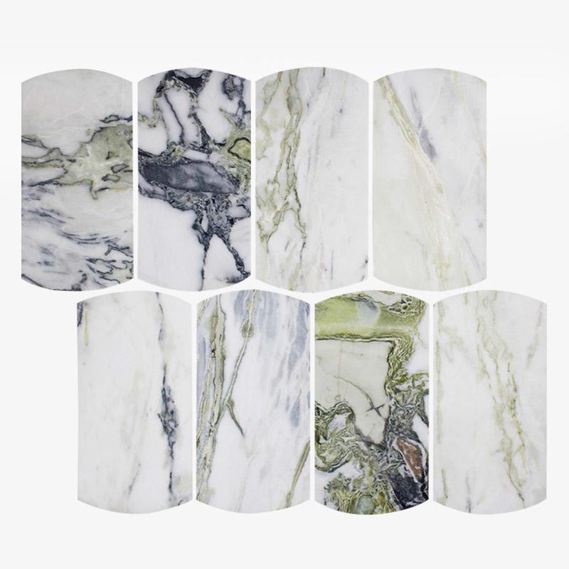 Natural Stone Tile Mosaic Ice Green Marble Stone Arc Mosaic