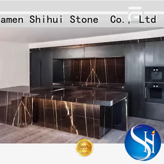 Shihui black manufactured stone countertops wholesale for bathroom