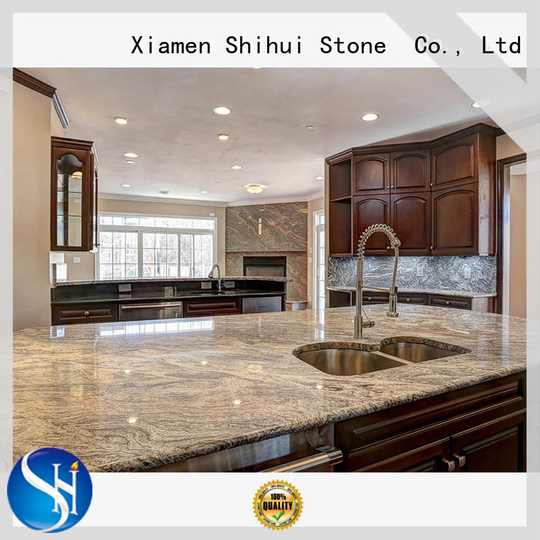 Shihui black cultured stone countertop factory price for bathroom