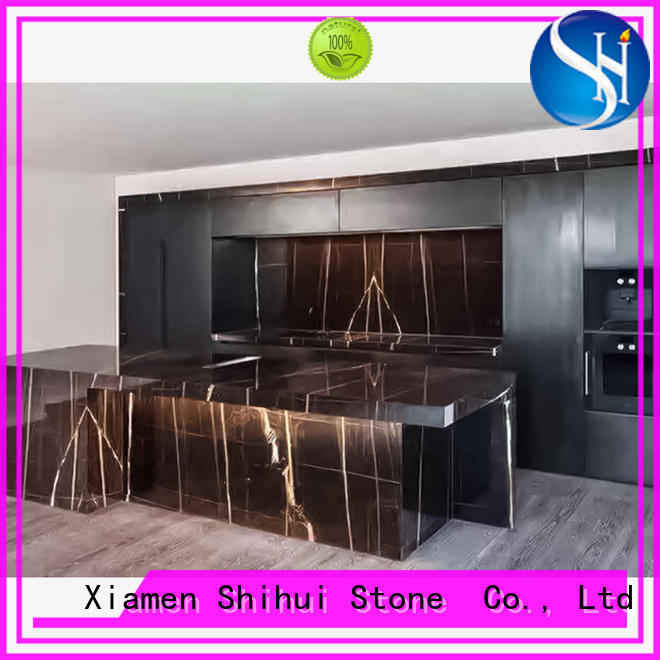 Shihui black engineered stone countertops supplier for kitchen