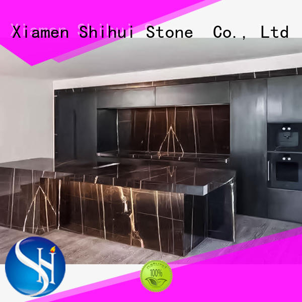 black engineered stone countertops personalized for kitchen