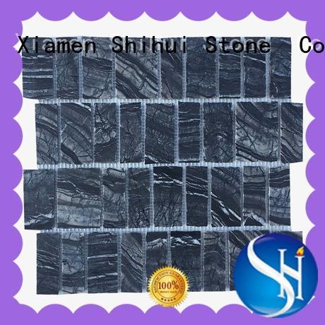 Black Wooden Marble Split Sides Mosaic Tile Stone Mosaic